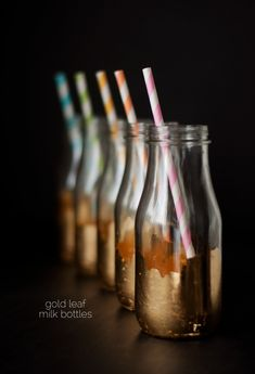 DIY Gold Leaf Milk Bottles Tutorial