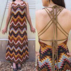 Vintage 70s Woven Tribal Boho Maxi Dress w/ Suede Crossback Straps