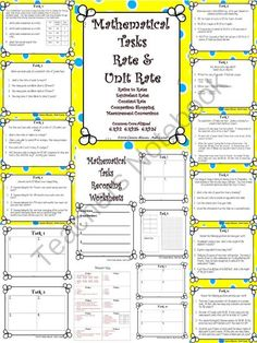 Rate and Unit Rate: Mathematical Tasks Constant Speed, Comparison Shopping from Math Central on TeachersNotebook.com -  (22 pages)  - Rate and Unit Rate: Mathematical Tasks Constant Speed, Comparison Shopping Awesome Task Cards!!