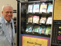 """Not just a book vending machine! From 12/2001: """"'Book Drop' vending machine offers unique holiday gift idea. University of Iowa Center for the Book studies students are offering a unique holiday gift idea along with an  unusual shopping experience. Handmade books and kits for binding your own books are available at a new """"Book Drop"""" vending machine...in the...Main Library. The book arts vending project grew out of a class offered at the UI Libraries Structure of the Handmade Book [class]."""""""