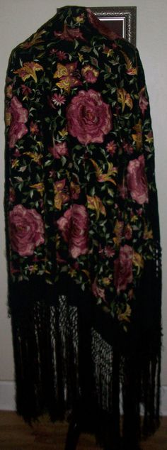 Gorgeous Rose Flower Embroidered Antique Piano Shawl by MICSJWL, $295.00