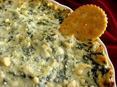 """#18 - Spinach Artichoke Dip: """"This dip was a big hit with my friends! I substituted mushrooms for artichoke hearts and it was absolutely delicious. Great heated up the next day too!"""" -Meadow Camacho"""