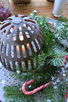 Decorating Christmas centrepieces with old kitchen bakeware / FOLK magazine, contributor Funky Junk Interiors