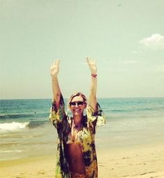 """Hilary Duff took a crazy chance promoting her upcoming single """"Chasing the Sun"""" with an airplane message and a super cute bikini Instagram! Her cover-up is so pretty!"""