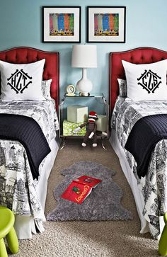boys' bedroom with red headboards // designed by Traci Zeller  via interview with Simplified Bee