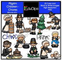 Pilgrim Children - Chores Clip Art Bundle from Educlips on TeachersNotebook.com -  (22 pages)  - Pilgrim Children - Chores Clip Art Bundle