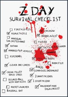 surviv checklist, zombi checklist, zday surviv, zombi apocalyps, check lists, walk dead, zombie apocalypse, zombies, thankschecklist awesom