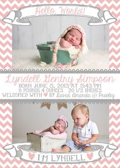 Chevron with Frame 5x7 Photo Baby Girl Birth Announcement Card by SSDdesign
