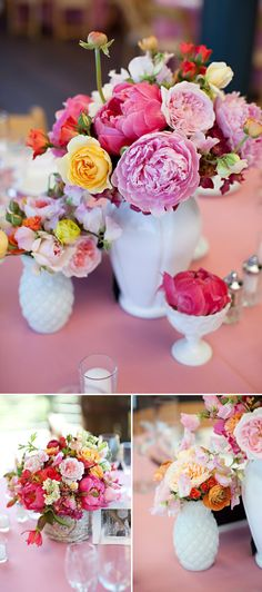 White milk glass wedding centerpieces. Charmed Events Group and Amy Burke Designs! Photo by Vincent Au Photography via JunebugWeddings.com