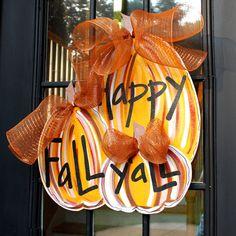 Door Hanger Fall Pumpkin Door Decoration Fall by LooLeighsCharm, $45.00