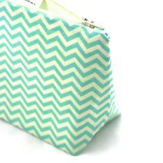 Retro Cosmetic Bag in Chevron Aqua/Robin Egg by JordaniSarreal, $11.95