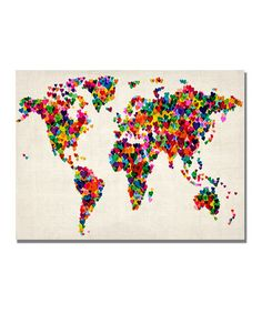 Can't decide if this is too cartoon-ish. It's kinda John 3:16, donthcha' think? //Hearts World Map Gallery-Wrapped Canvas