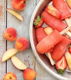 strawberry peach vodka popsicles