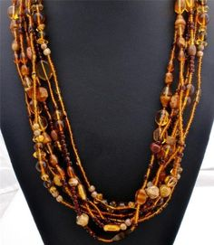 Statement Piece Amber Topaz Art Glass Bead Multi 6 Strand Brown Necklace Vintage | eBay