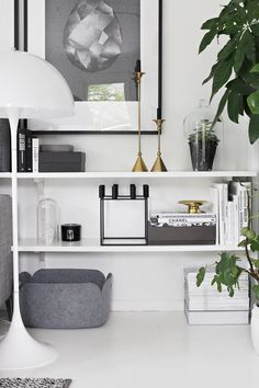 Smart shelving, living room, books, grey