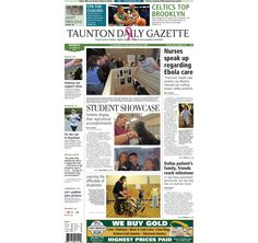 The front page of the Taunton Daily Gazette for Monday, Oct. 20, 2014.