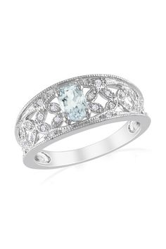 Sterling Silver Pave Diamond & Aquamarine Filigree Ring