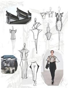 Fashion Sketchbook - architecture-inspired fashion design with fashion sketches & inspirations; fashion portfolio // Jiayin Li