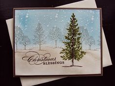 stamp sets, tree, christma idea, paper ecstasi, winter scenes, christmas ideas, stampin up christmas, handmade christmas cards, evergreen christma