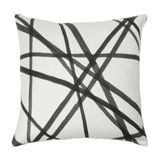 Love the idea of a graphic black and white pillow against a larger solid bright pillow