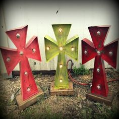 Lighted Rustic Handmade Cross- Giddy Up Glamour