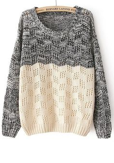 Cute and stylish. The lace gives it such a playful, airy feel- while the stately grey keeps the look grounded. Two-toned Sweater!