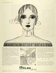 1928 Ad Parfumerie Melba Lov'me Face Lipstick (via periodpaper)
