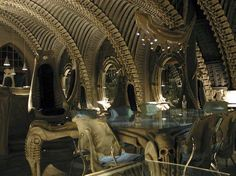The Skeleton Bar in Gruyere, Switzerland.  Designed by Hans Rudi Giger.