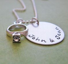 custom engagement necklace  hand stamped silver by juliethefish, $39.00