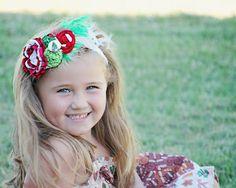 #LLA Fabric Christmas Holiday Rosette Headband by PoshBabyStore.com