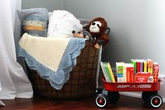 A basket in the corner of the nursery for all of the blankets baby receives. And a radio flyer mini wagon for books!