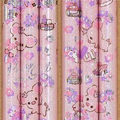 pale pink Piggy Girl glitter pencil flowers & presents
