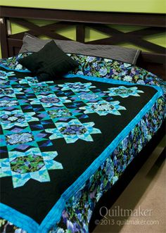 Midnight Blues, a beautiful queen size quilt, designed by Marilyn Foreman. Pattern is available in Quilts from Quiltmaker's 100 Blocks, Fall '13.