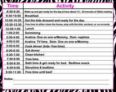 making a daily schedule