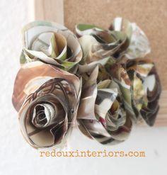 Magazine Paper Flowers redouxinteriors