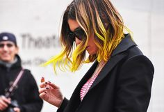 yellow dip dyed hair