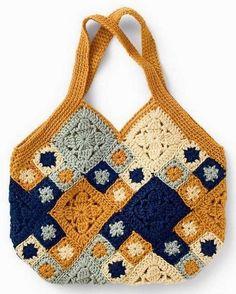 crochet Handbag - square crochet motif