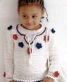 Cutesy flowers on this crochet pullover