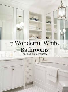 White bathrooms are crisp, clean, and light. We've rounded up 7 of our favorite bathrooms that utilize the color white to make a statement! Read more on our blog: http://www.nationalbuildersupply.com/blog/home-trends/7-wonderful-white-bathrooms/