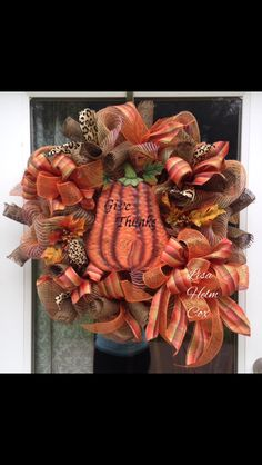 Burlap Thanksgiving Fall Mesh Wreath, Give Thanks, Orange, Pumpkin