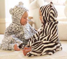 adorable! ~ Animal Print Nursery Bath Wraps | Pottery Barn Kids