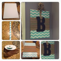 Or you can cover a canvas in a fabric, then added a painted wood sign Canvas Possible, Chevron Canvas, Burlap Covered Canvas, Covers Canvas
