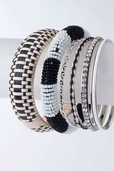 Mix Bangle Set-Black & White