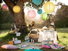 lantern, summer picnic, tree, event, couture, garlands, flats, parti, kid