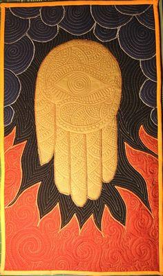 "Trapunto with applique (""trapplique""), hand design, by Nina Paley"