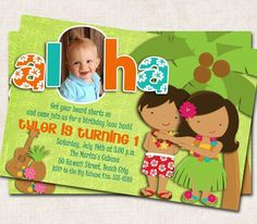 Aloha Luau Birthday Party Invitation hula by missbellaexpressions, $15.00