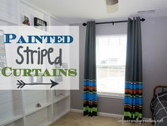 DIY Painted Striped Curtains for a Boy's Room