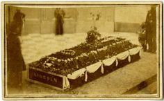 President Abraham Lincoln's casket laying in state at the Ohio Statehouse in Columbus, Ohio on April 29, 1865.