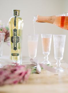 """Add St-Germain to pink sparkling wine for a delicious cocktail aptly named """"La Rosette."""""""