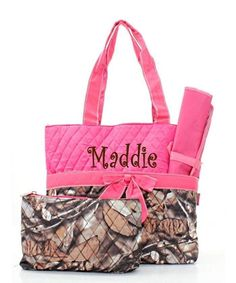 Personalized Natural Camo Diaper Bag Set with Hot Pink Trim Baby Girl Diaperbag #NGil